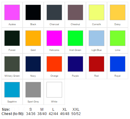 printed t shirt colours