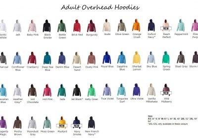 Adult overhead hoodie colours