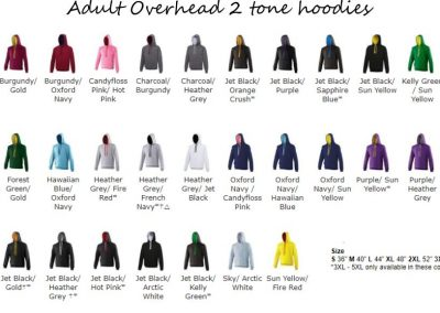 2 colour leavers hoodies