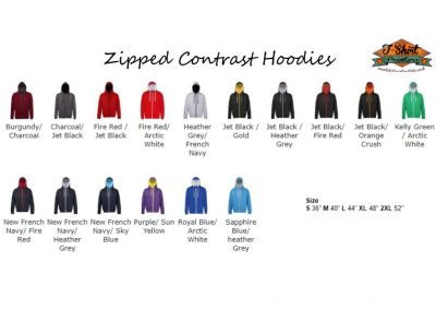 zipped leavers hoods 2 colour